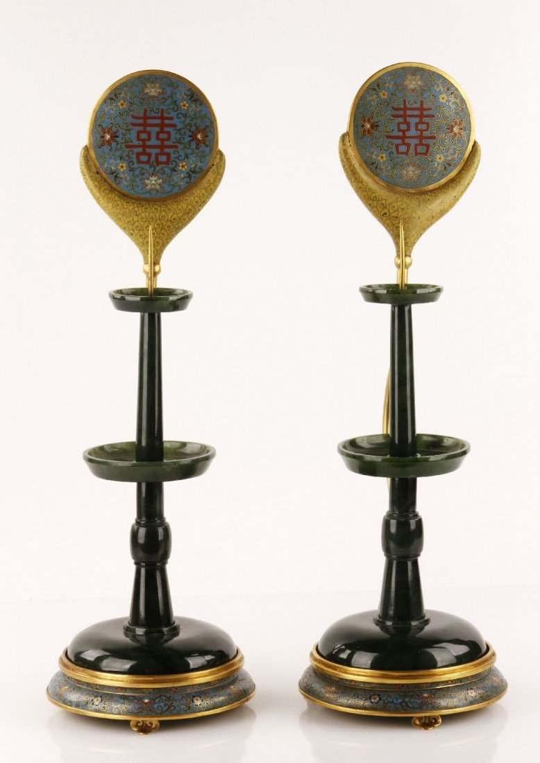 Pr. Cloisonne and Green Jade Candlesticks