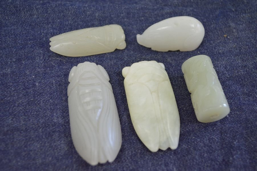 5 Pieces Chinese Hand Carved Hardstone. Longest: 2.25''