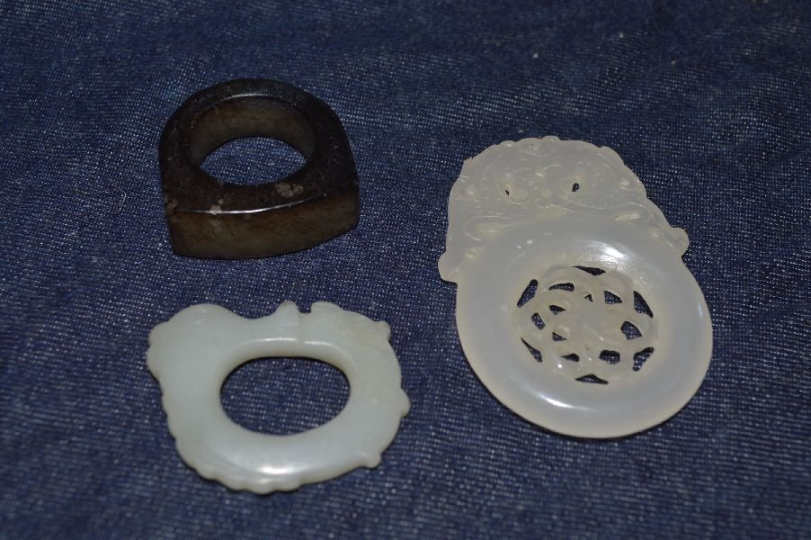3 Pieces Chinese Hand Carved Hardstone. Longest: 1.5''