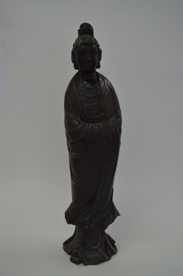 Chinese Carved Wood Figure 21''