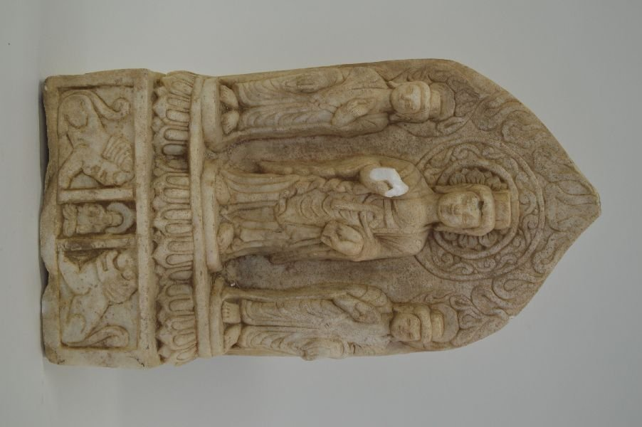 Chinese Carved Stone Buddha. Arm missing. 15''