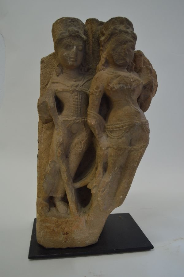 Carved Indonesian Stone Dancers Sculpture 18''