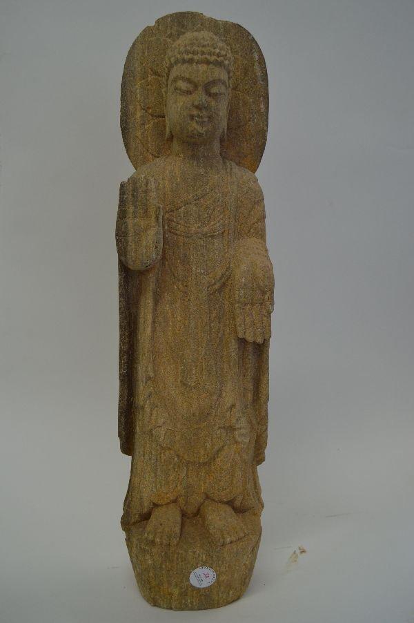 Chinese Carved Stone Buddha. 22.75''