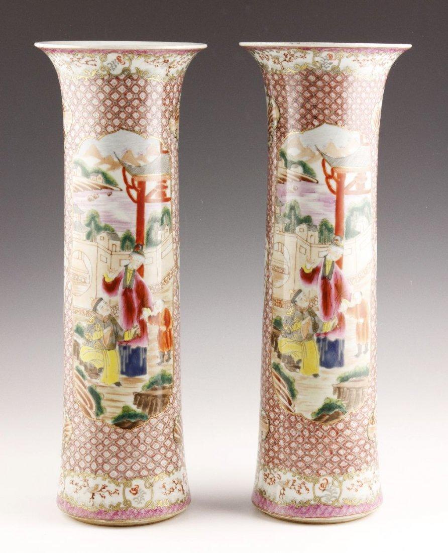 Pr. Chinese Export Porcelain Gu Vases