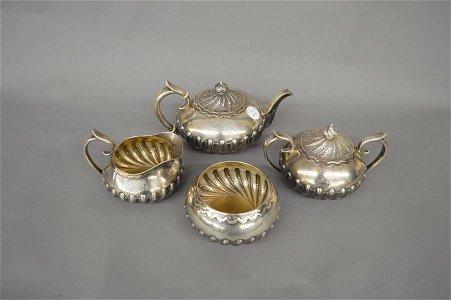 Silver tea set, 4 pieces, 3 lb 1.8 oz