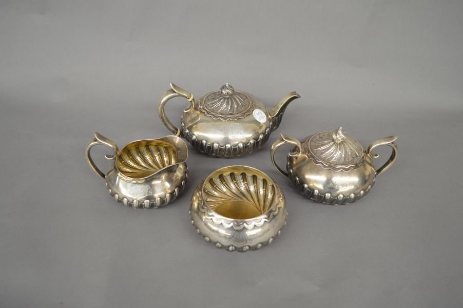 Silver tea set, 4 pieces, 3 lb 1.8 oz