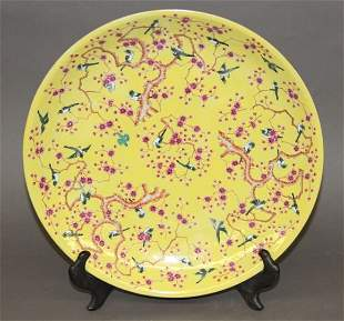 Yellow Glazed And Famille Rose Porcelain Plate