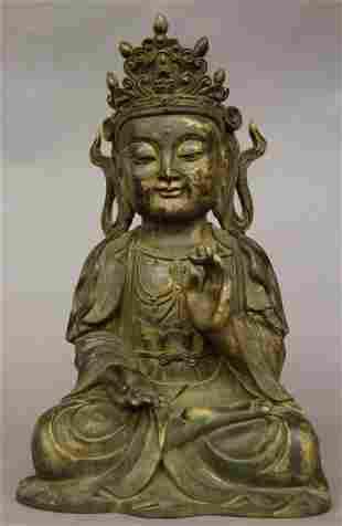 Gilt And Bronze Buddha Figure
