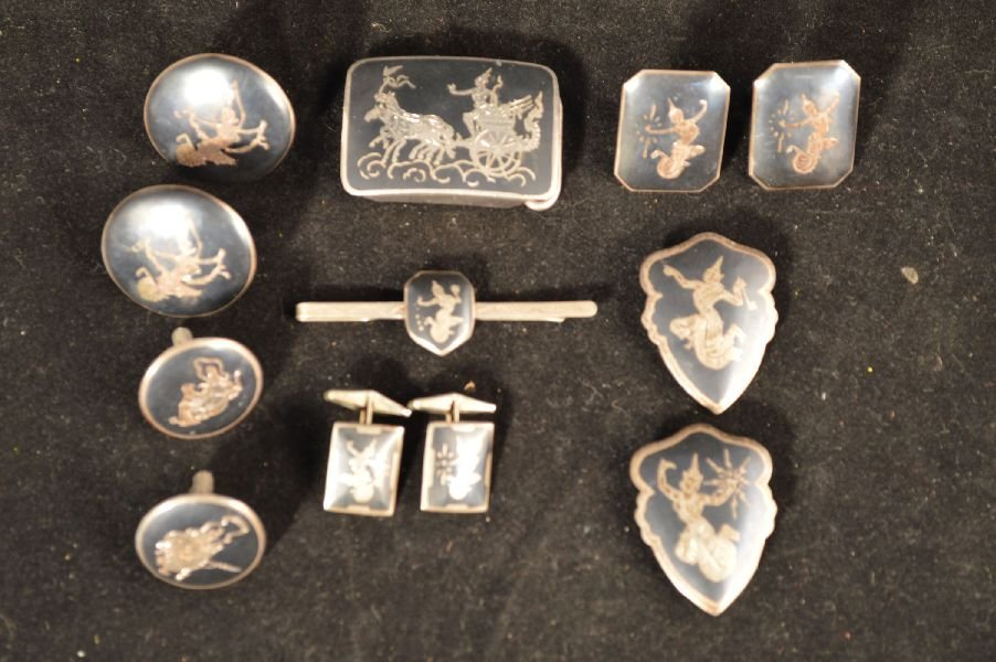 SIAM SILVER CUFF LINKS, TIE CLIPS, BELT BUCKLE