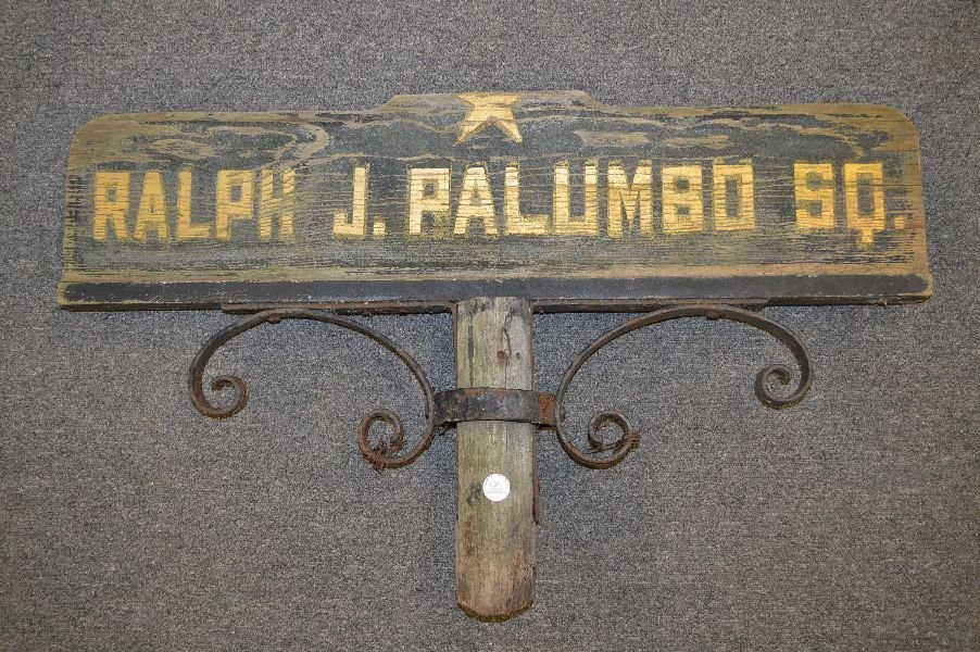 ANTIQUE STREET SIGN; RALPH J. PALUMBO SQ. ( BOSTON)