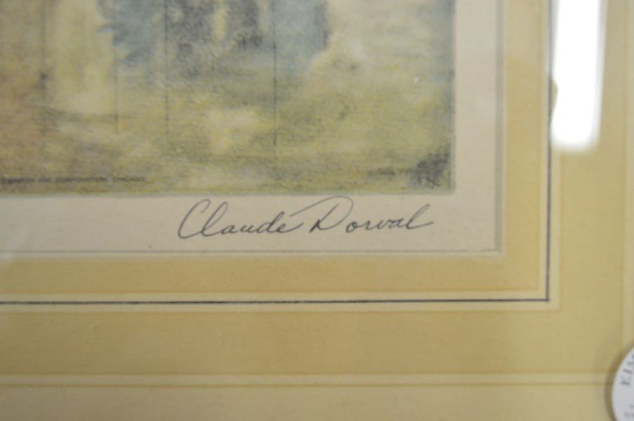 "FRAMED PRINT OF VENICE; SIGNED CLAUDE DORVAL 21""x15"" - 2"
