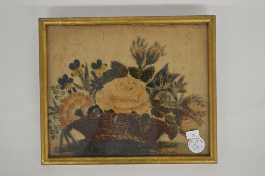19TH CENTURY THEOREM PAINTING ON VELVET