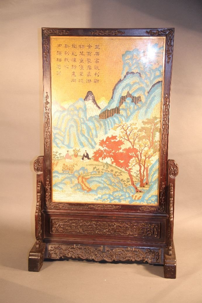Large And Rare Chinese Cloisonne Table Screen
