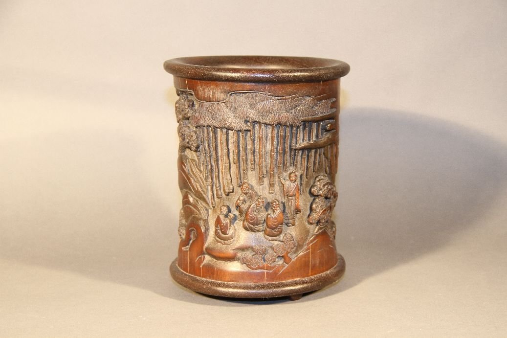 Carved Bamboo Bruse Pot
