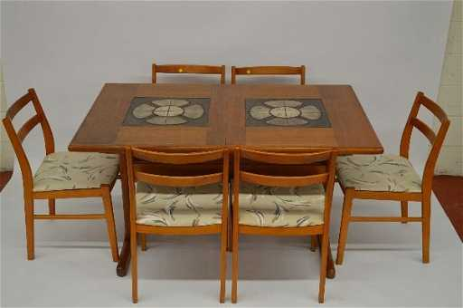 Danish Modern Table W Tile Inlay Signed W 6 Chairs