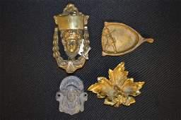 ANTIQUE ASSYRIAN HEAD BRASS DOOR KNOCKER3 METAL WARE
