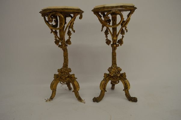 PAIR OF ITALIAN ROCCOCO GESSOED GUILT WOOD STANDS