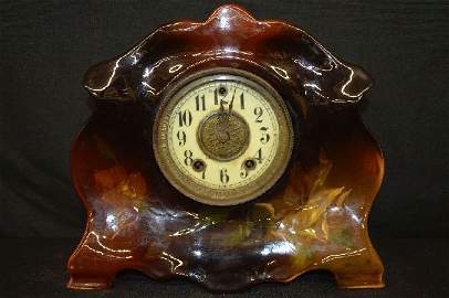 RARE WELLER LOUWELSA POTTERY MANTLE CLOCK