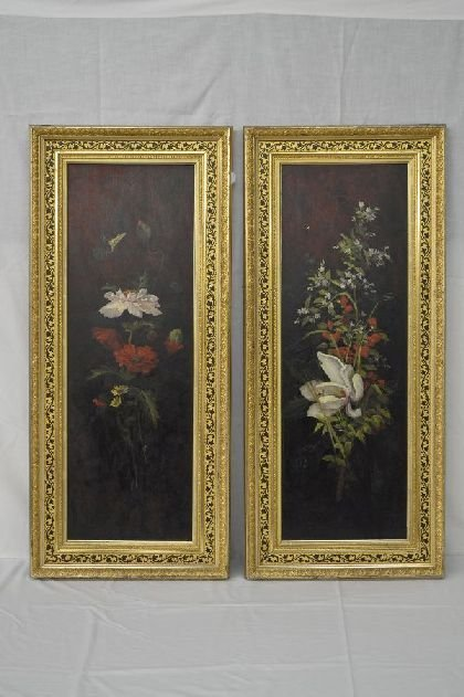 PAIR OF FINE FLORAL STILL LIFES ON PANEL, IN AMERICAN