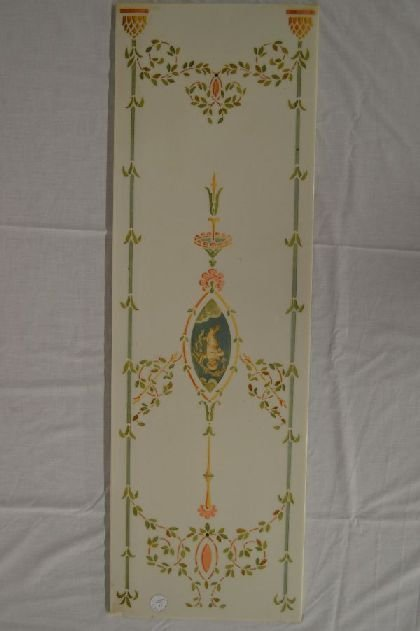 ART NOVEAU MILK GLASS PANEL WITH INCISED DECORATION