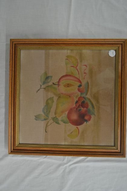 FINE THEOREM PAINTING ON VELVET WITH FRUIT SIGNED JDW