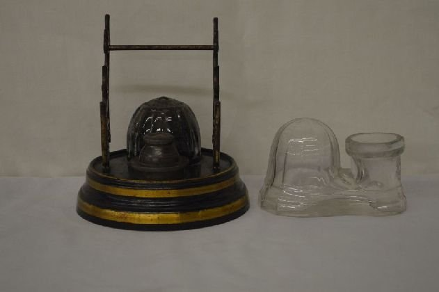 ALL ORIGINAL BAROMETER INKSTAND WITH ORIGINAL PAPER