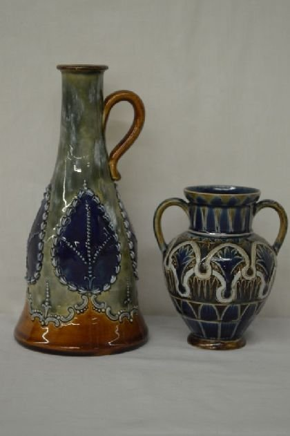 2 PIECES DOULTON LAMBETH ARTIST SIGNED POTTER EWER W/