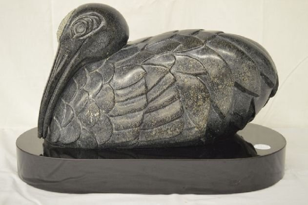 POLISHED GRANITE MID CENTURY ARTIST SIGNED SCULPTURE OF