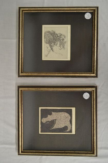 "2 ABSTRACT JOYCE T MACRORIE ETCHINGS  6"" X 5"" AND"