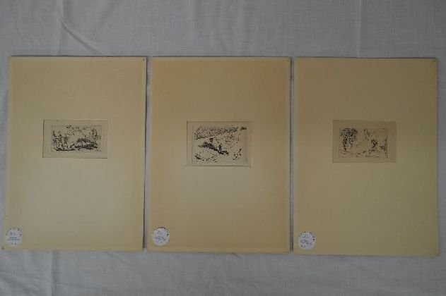 3 SMALL PENCIL SIGNED ITALIAN FUTURIST ETCHINGS, 2 3/4""