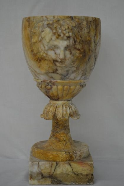 "ITALIAN MARBLE URN WITH CARVED FACE 12"" X 7 1/4"