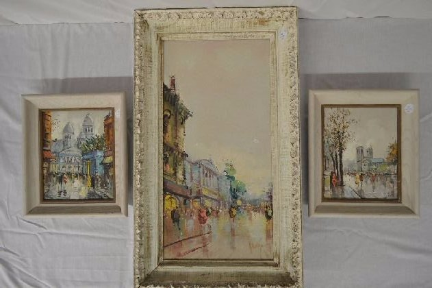 3 A. DEVITY OIL PAINTINGS OF PARIS STREET SCENES 23