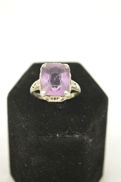 14K WHITE GOLD AND AMETHYST RING