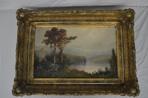 19TH CENTURY UNSIGNED OIL ON CANVAS HUDSON RIVER VALLEY