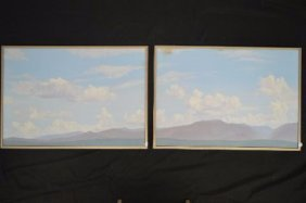 2 Canvas Painting Of Mountains And Clouds R A Newton