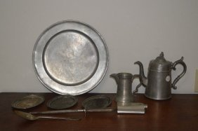 Small Grouping Of Early Pewter And Silver Plate
