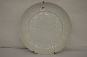 Flower Min Shaped Caned White Porcelain Plate W/ Carved