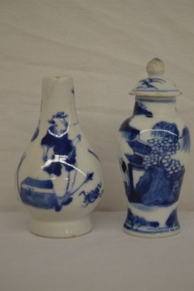 2 Blue And White Snuff Bottles One W/mountains, One W/