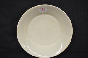Chinese Qing Ware Porcelain Dish W/ Carved Butterfly
