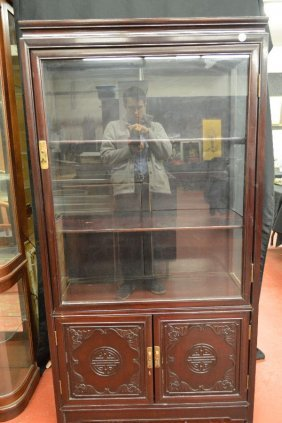 Chinese Lacquered Glass Display Cabinet