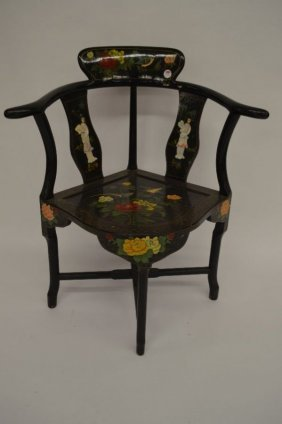 "Lacquered And Inlaid Chinese Corner Chair 33""h, 16""seat"