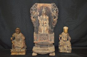 3 17th Century Carved And Painted Wood Immortal Figures