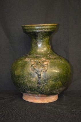 Early Red Ware Pottery Chinese Urn In Dark Green Glaze,