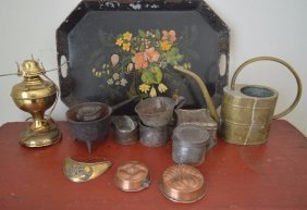 12 Pieces Of Brass, Copper, Cast Iron, And Toleware