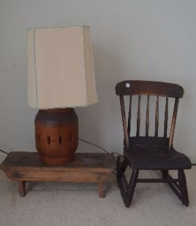 Wagon Wheel Lamp, Small Bench, And Antique Child Rocker