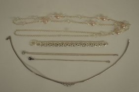 5 Sterling Items Including 1 Bracelet And 4 Necklaces