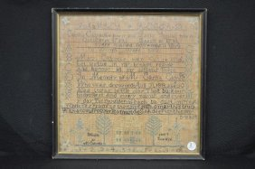 Exceptional 1826 Sampler And Family Record By Mary