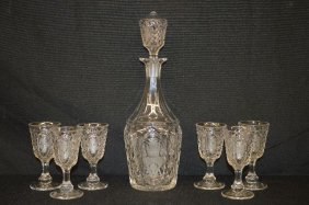 Lattice And Oval Etched Antique Glass Decanter With 8