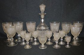 Diamond Point Antique Glass Decanter With Eight Footed