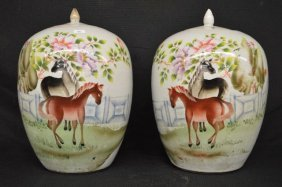 Pair Of Large Chinese Famille Rose Lidded Vessels